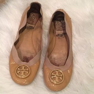 Tory Burch nude patent leather flats